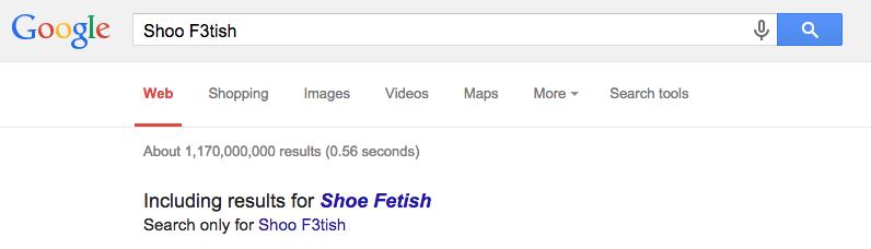 Shoo F3tish Google Search Screen Shot